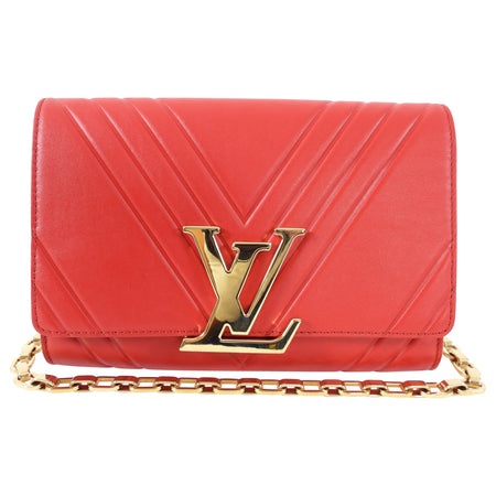 Louis Vuitton Red Leather Airy V Pochette Louise Chain Strap Bag