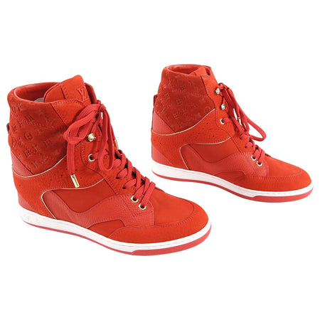 Louis Vuitton Red Monogram Cliff Top High Top Sneaker - 36.5 / 6