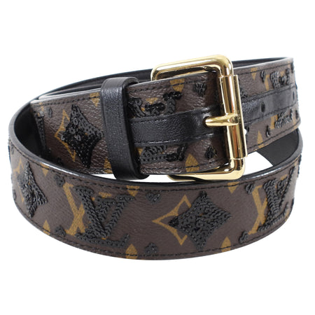 Louis Vuitton Limited Edition Monogram Black Sequin Belt - 90 / 36