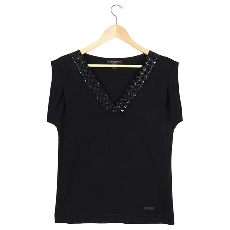 Louis Vuitton Black Knit Tee with Damier Sequin Trim - M