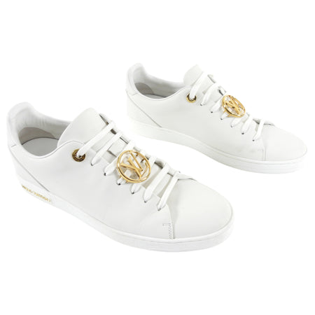 Louis Vuitton White Low Top Sneakers with Gold Logo - 8.5