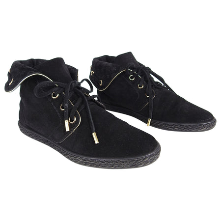 Louis Vuitton Black Suede Monogram Logo Ankle Boots - 37.5