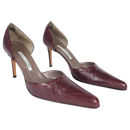 Manolo Blahnik Burgundy Leather Lacing Detail Pumps - 41