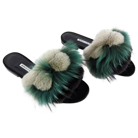 Manolo Blahnik Pelosus Green and grey Fur Flat Sandal - 38