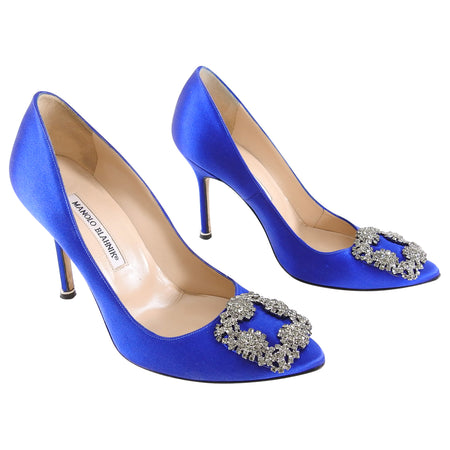 Manolo Blahnik Hangisi Cobalt Blue Jewel Pumps - 37.5