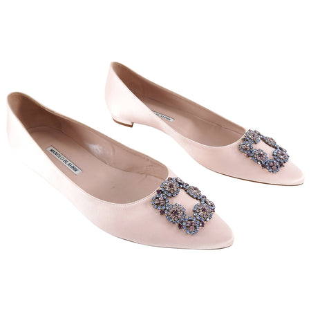 Manolo Blahnik Hangisi Crystal Shell Pink Silk Satin Flat Shoes - 41
