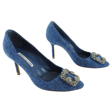 Manolo Blahnik Blue Hangisi Tweed Wool 90mm Jewel Pumps - 38.5