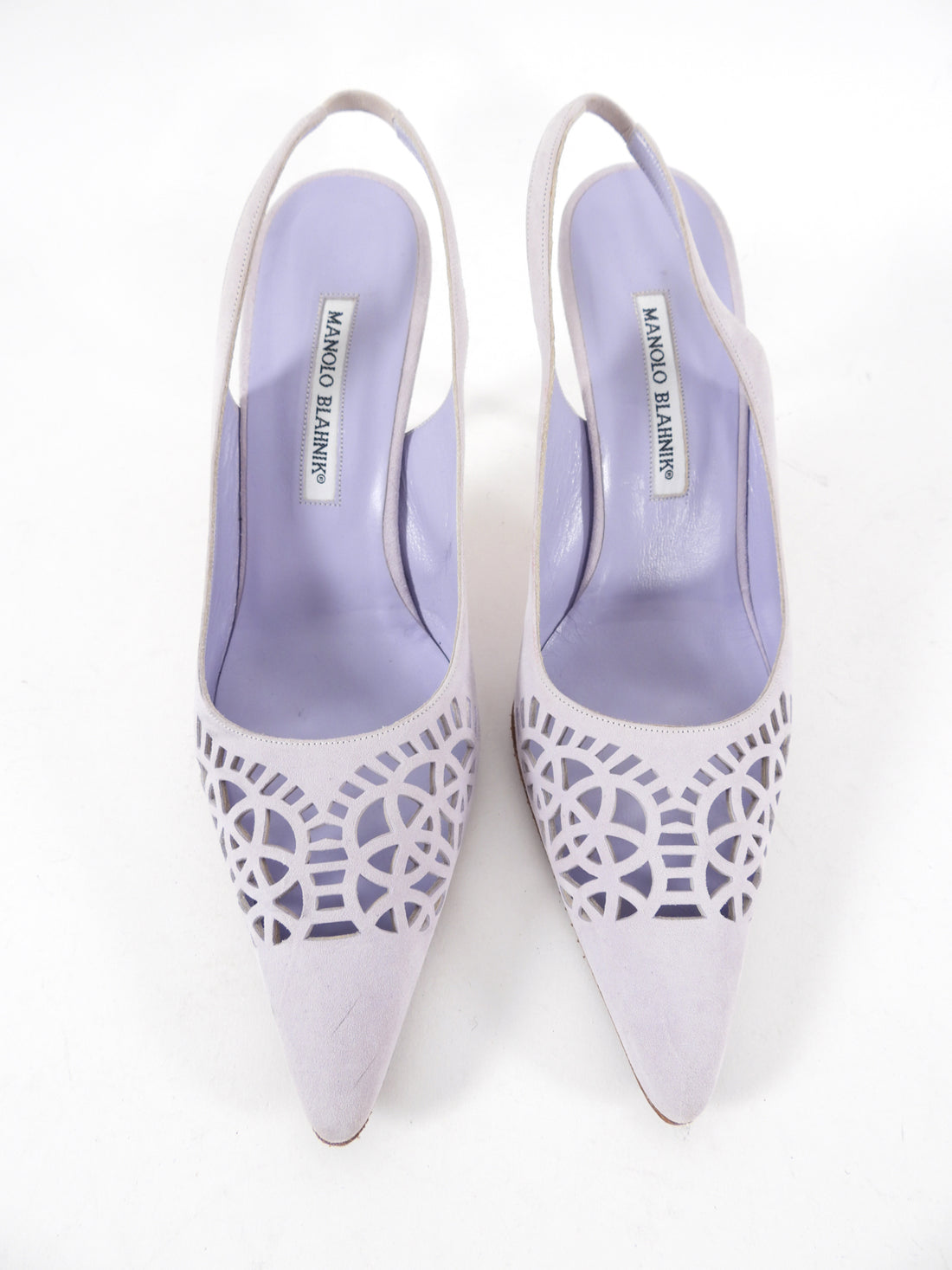 Manolo Blahnik Lilac Purple Perforated Suede Slingback 90mm Heels - 40