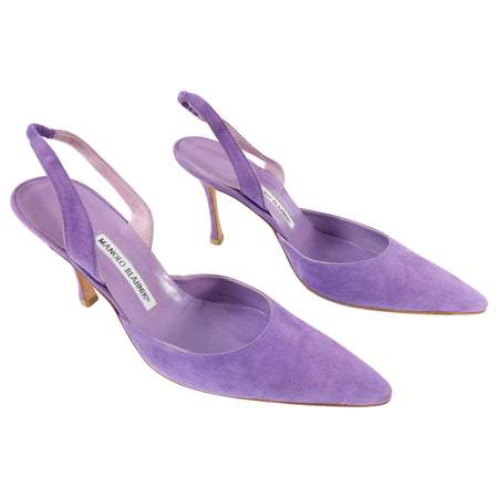 Manolo Blahnik Purple Suede Slingback 90mm Heels - 41