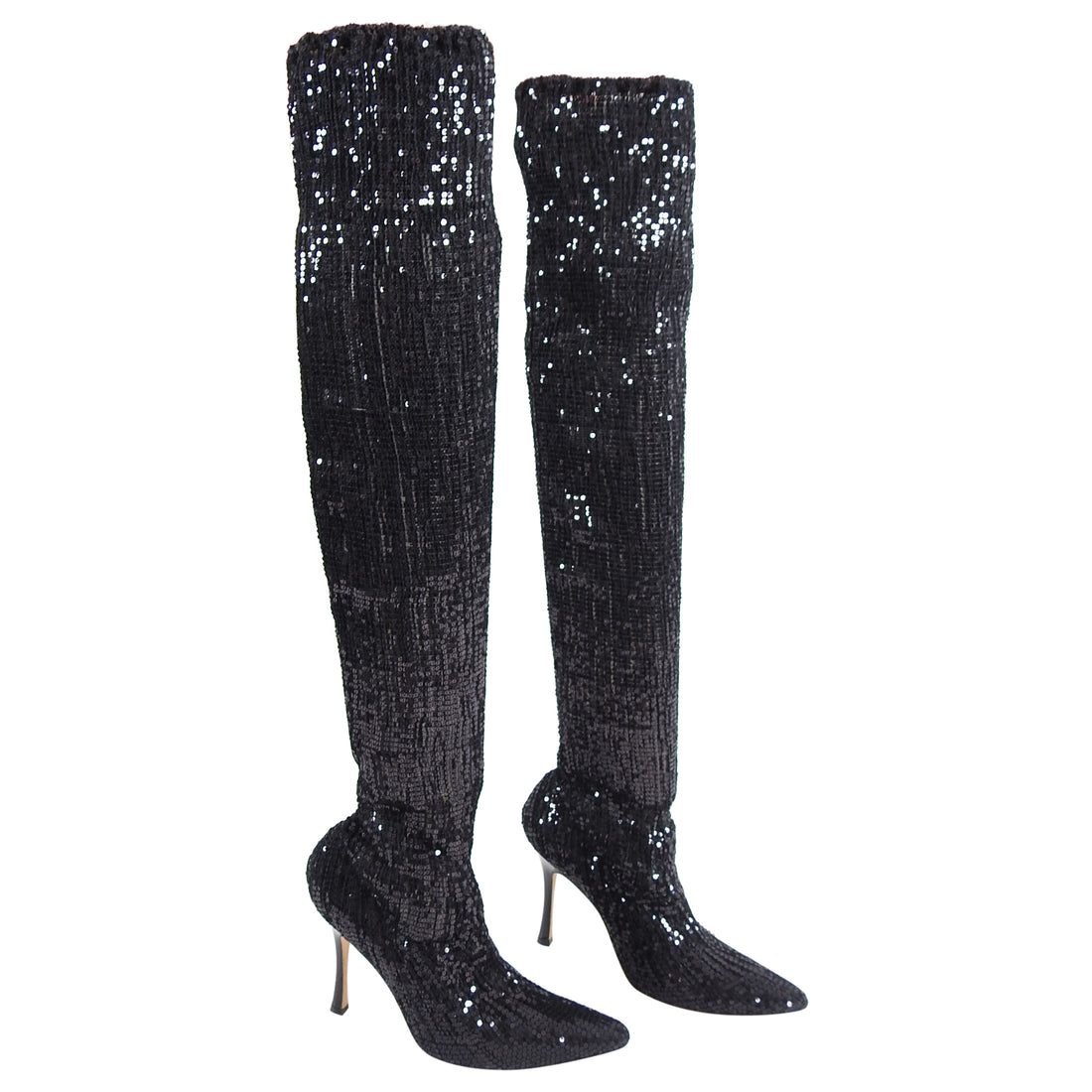 Manolo Blahnik Pascalare Black Sequin Over the Knee Sock Boots - 37