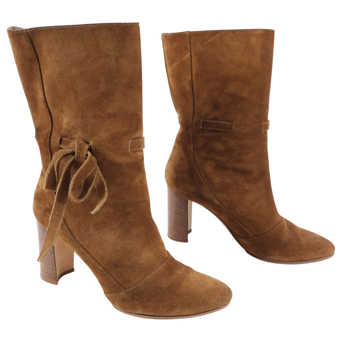Manolo Blahnik Brown Tan Suede Ankle Boots - 35