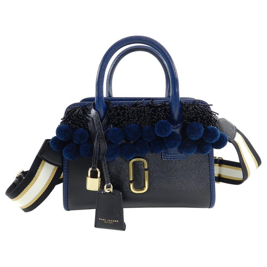 "Marc Jacobs Navy Beads and Pom Pom ""Little Big Shot"" Bag"