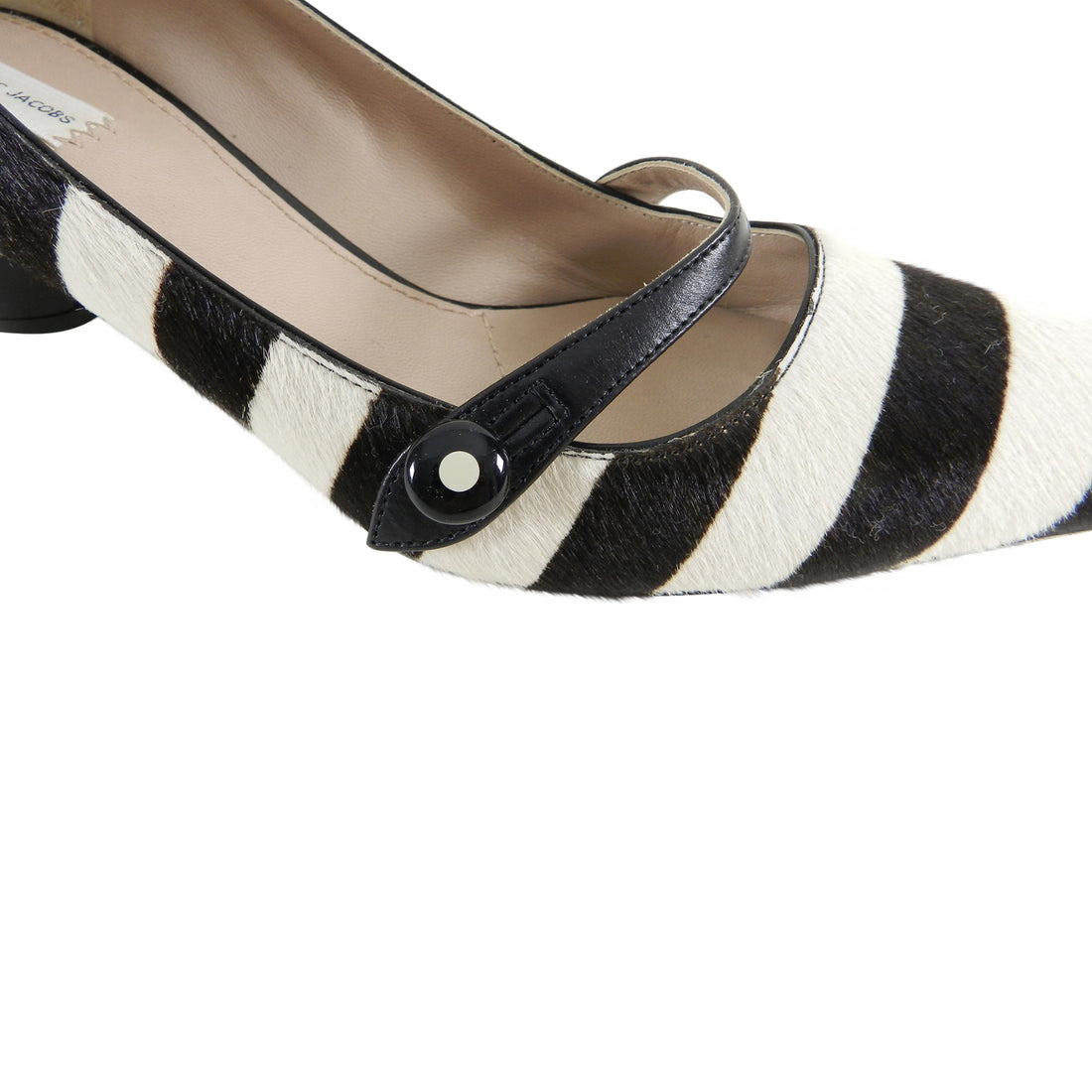 Marc Jacobs Black and White Mod Striped Pony Pumps - 37