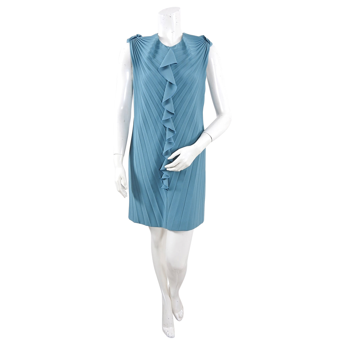 Marco di Vincenzo Blue Architectural Pleat Shift Dress - 8