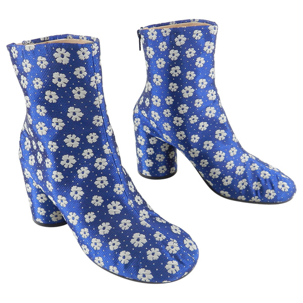 Maison Margiela Blue Fabric Brocade Floral Ankle Boots - 37