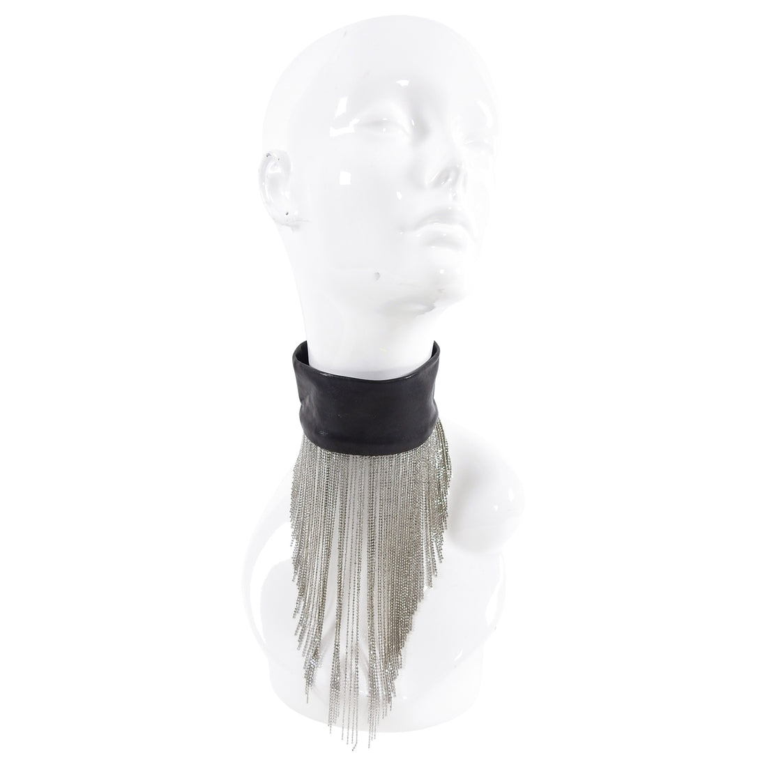 Maison Margiela Black Leather Metal Fringe Choker Necklace - XS