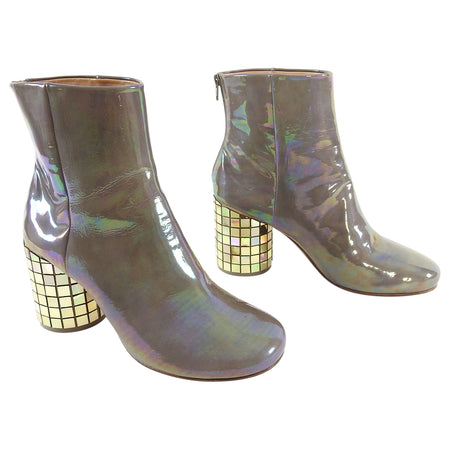 Margiela Taupe Limited Edition CD Mosaic Heel Ankle Boots