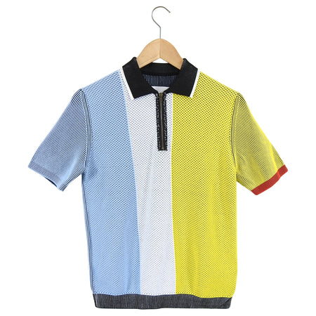 Maison Margiela Yellow Blue White Colour Block Knit Top - M