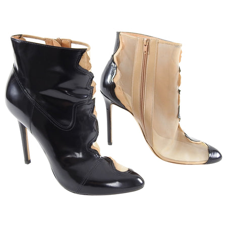 Maison Margiela Nude and Black Half Mesh Ankle Boots - 40