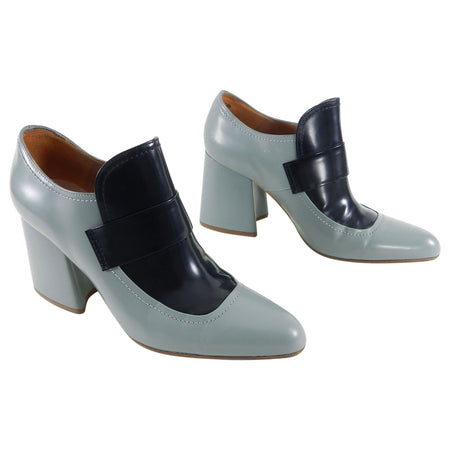 Marni Two Tone Blue and Black Slip on Chunky Heel Loafer - 40