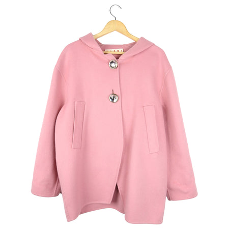 Marni Pink Cashmere Blend Short Hooded Coat with Jewelled Buttons - 36 / 4