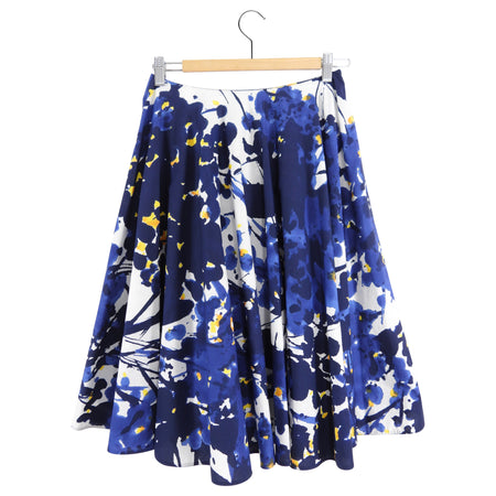 Marni Blue white Yellow Cotton Abstract Floral Full Skirt - FR36 / USA 4
