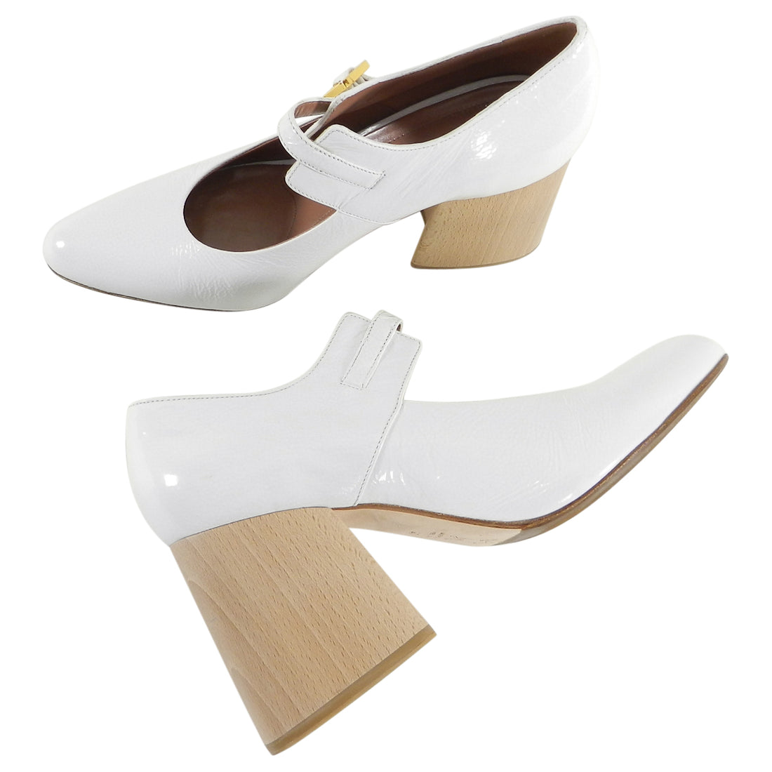 Marni White Patent Mary Jane Shoes with Wood Heel.  From the pre-fall 2017 collection. Chunky lacquered wood heel, gold buckle.  Original retail $880 USD.  Grips added on bottom sole by previous owner. Excellent pre-owned condition.  Worn a few times.  Duster and box not included.