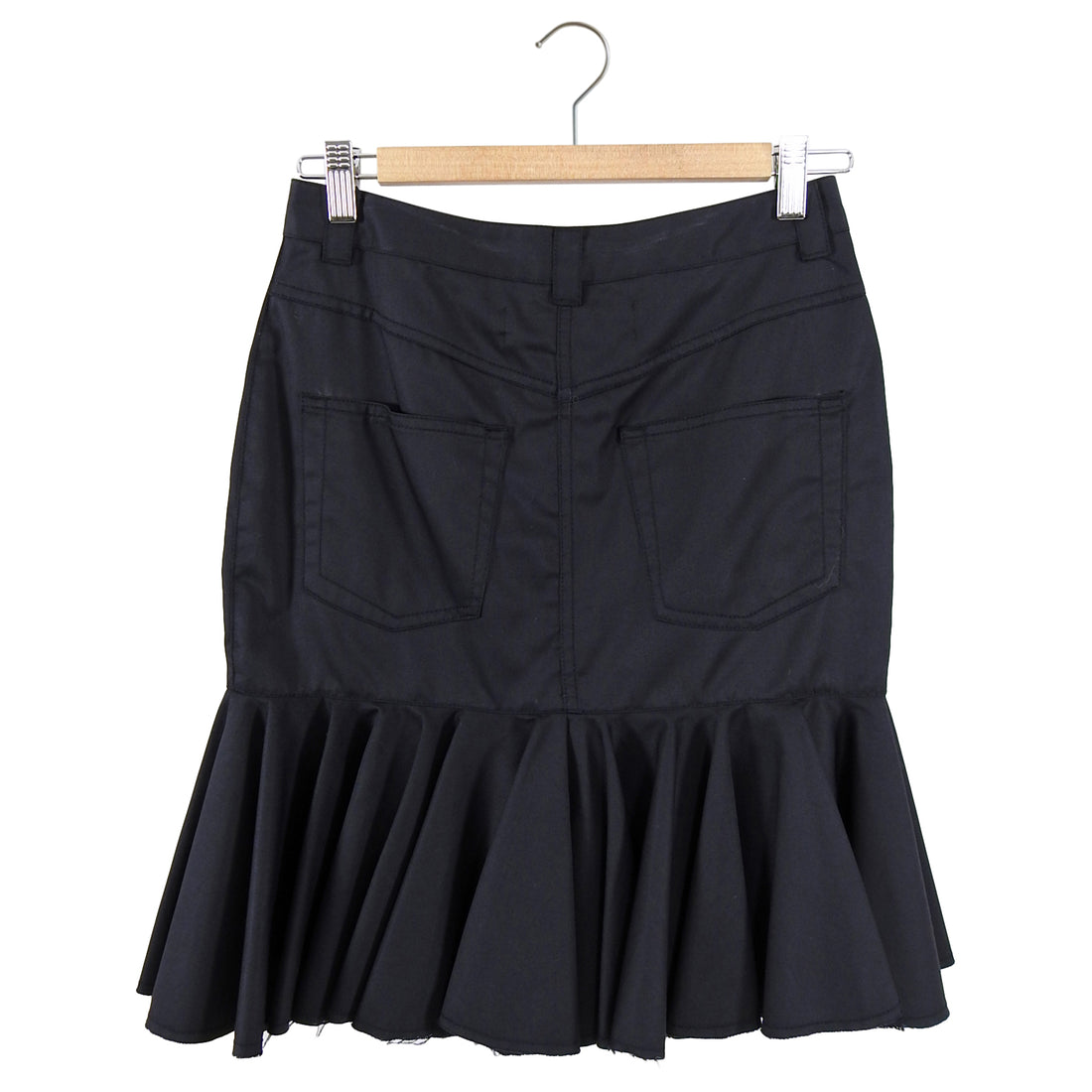 Marques Almeida Black Cotton Ruffle Skirt with Metal O Ring - XS