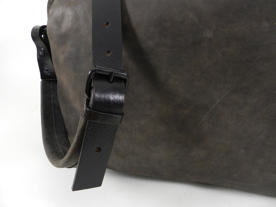 Marsell Dark Walnut Brown Leather Messenger Computer Bag