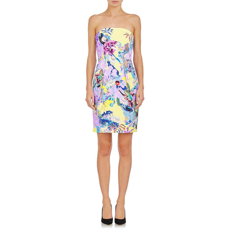 "Mary Katrantzou Yellow Patterned Strapless ""Olympia"" Cocktail Dress"