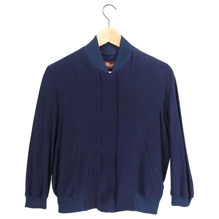 Max Mara Studio Navy Cropped Bomber Jacket - FR36 / IT40 / USA 4