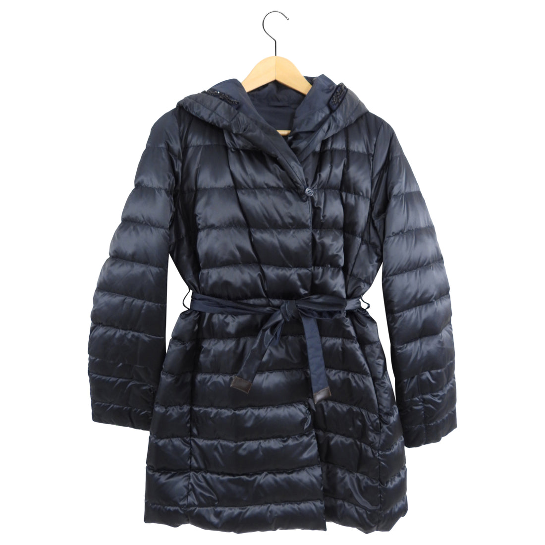 'S Max Mara Black Quilt Belted Coat - USA 8/10