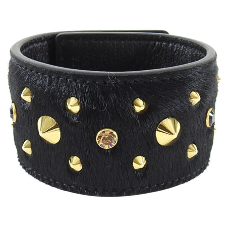 MCM Black Calf Hair Gold Stud Leather Cuff Bracelet
