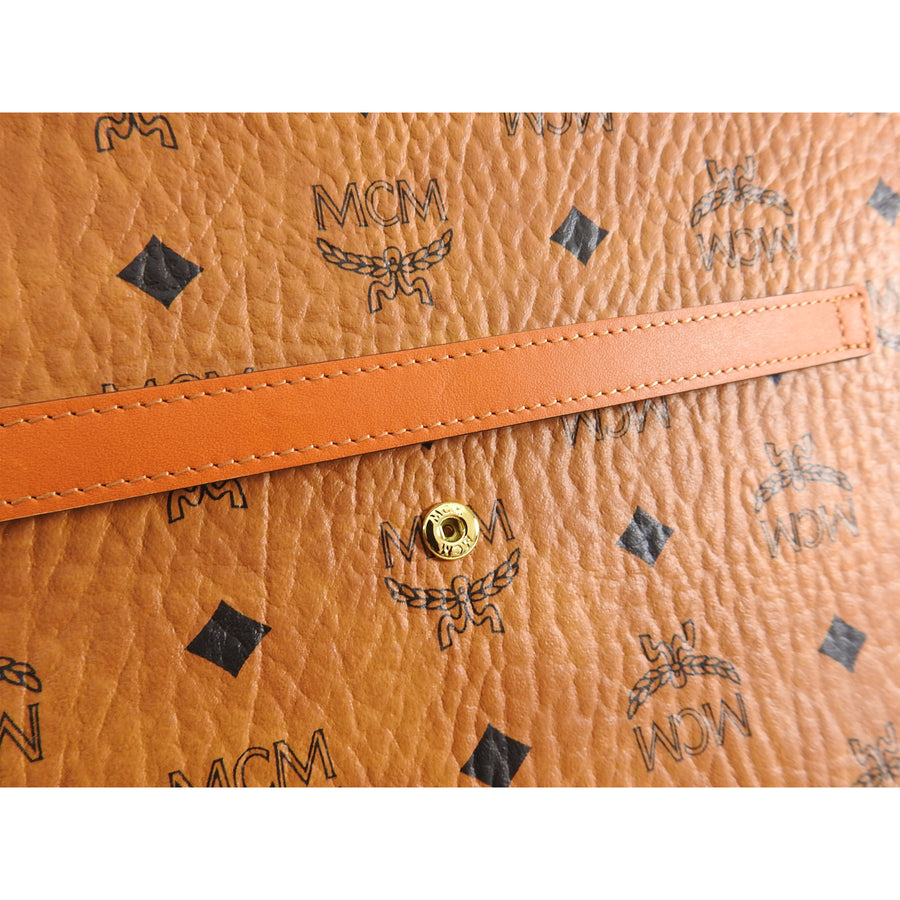 MCM Tan Logo Portfolio Envelope Clutch Bag