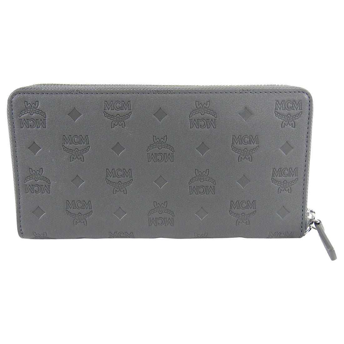 MCM Grey Leather Monogram Logo Embossed Continental Wallet