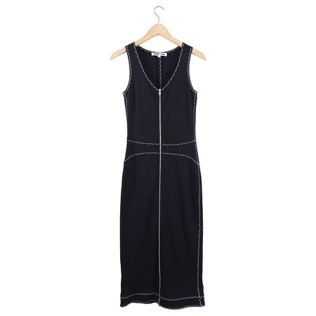McQ Alexander McQueen Black Top Stitched Zipper Bodycon Dress - 2/4