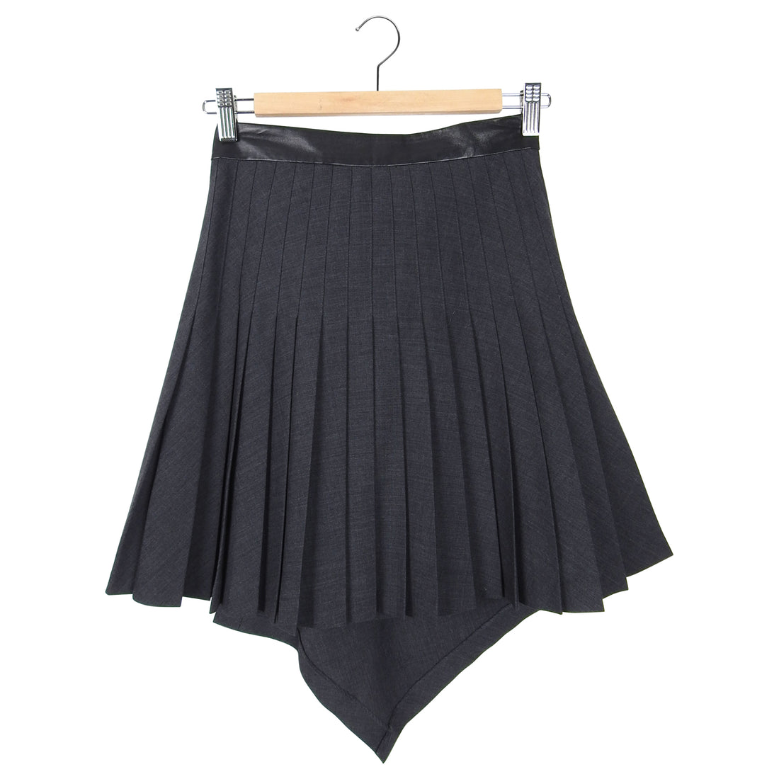Alexander McQueen McQ Grey Pleat Leather Trim Mini Skirt - IT38 / 2