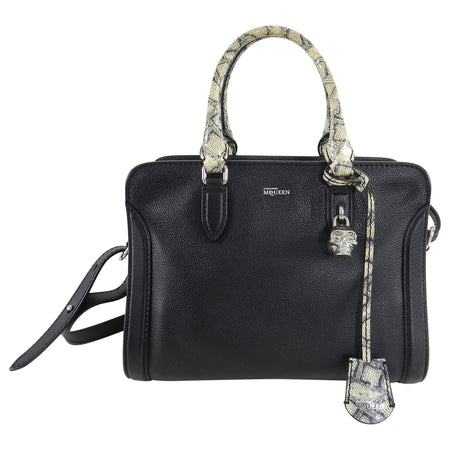 Alexander McQueen Black and Snake Print Small Skull Padlock Bag