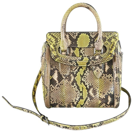 Alexander Mcqueen Small Lime Green Python Heroine Bag