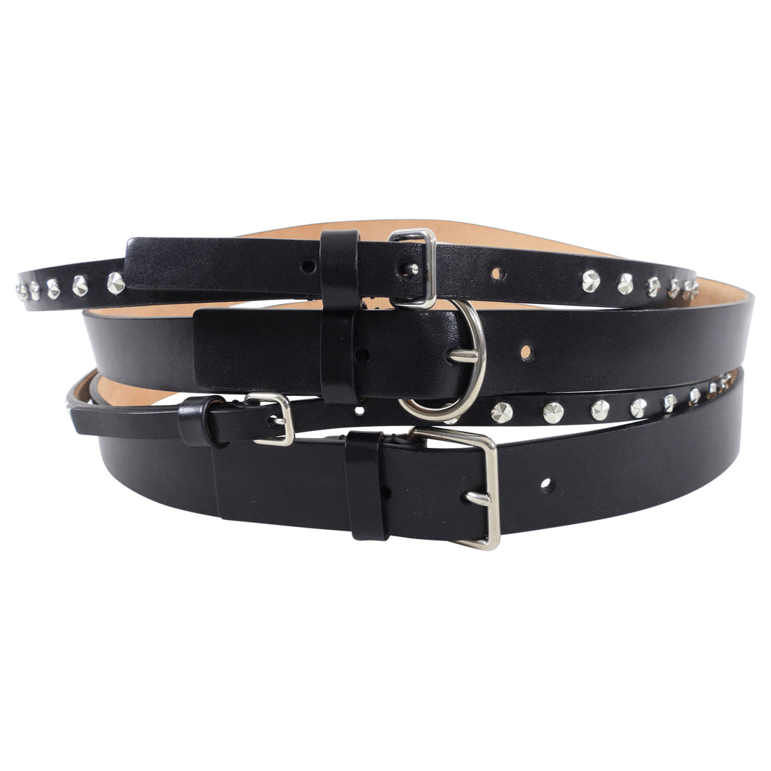 Alexander McQueen Black Leather Stud Wide Waist Cincher Belt - 85 / 34