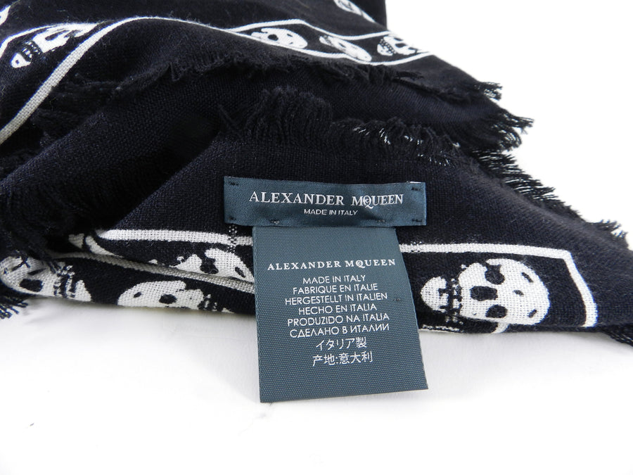 6dc42d8aa Alexander McQueen Large Black and White Skull Wool Shawl Scarf – I ...