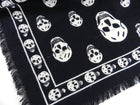 Alexander McQueen Large Black and White Skull Wool Shawl Scarf