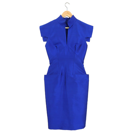 Alexander McQueen Cobalt Blue Raw Silk Cocktail Dress - 38 / 2