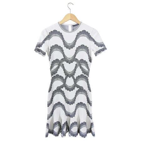 Alexander McQueen Knit Jacquard Short Sleeve Bodycon Dress - 6