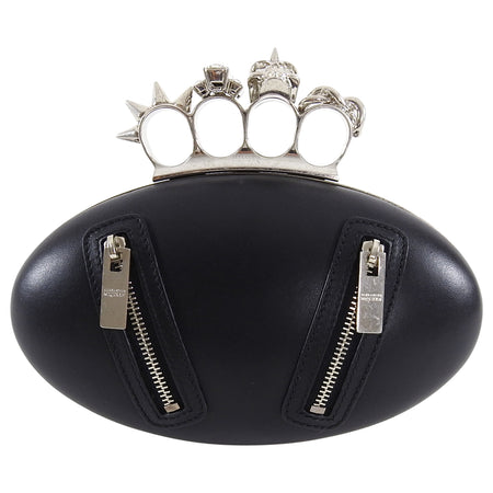 Alexander McQueen Black Knuckle Duster Zipper Clutch Bag