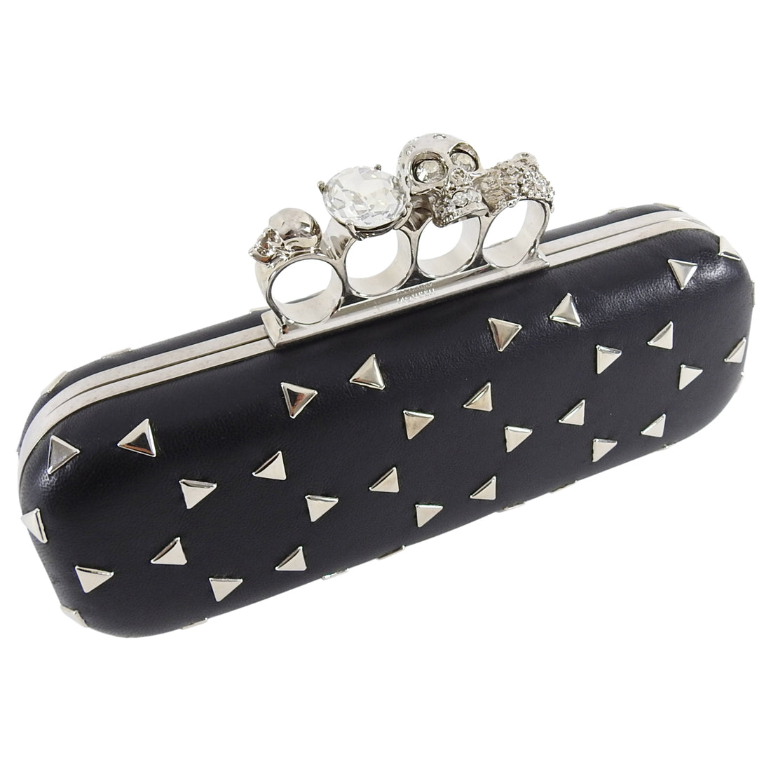 Alexander McQueen Black Stud Knuckle Duster Clutch Bag