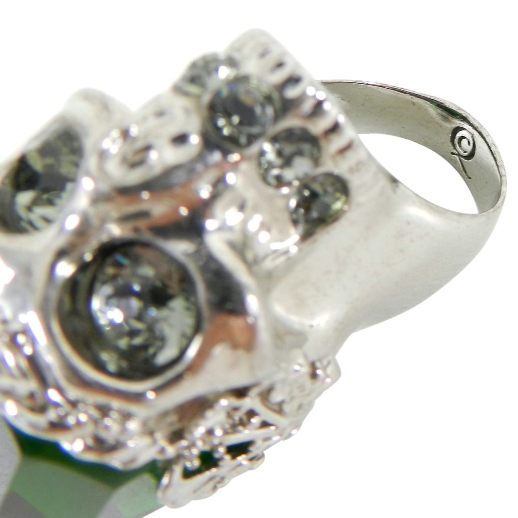 Alexander McQueen Green Faceted Glass Skull Statement Ring