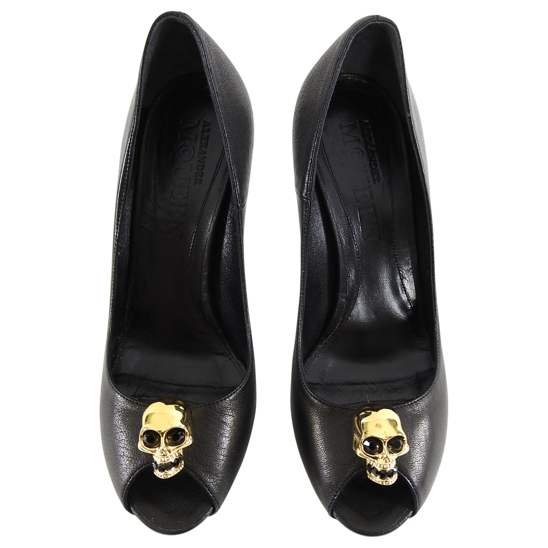 Alexander McQueen Black Leather Gold Skull Pump Heels - 38.5