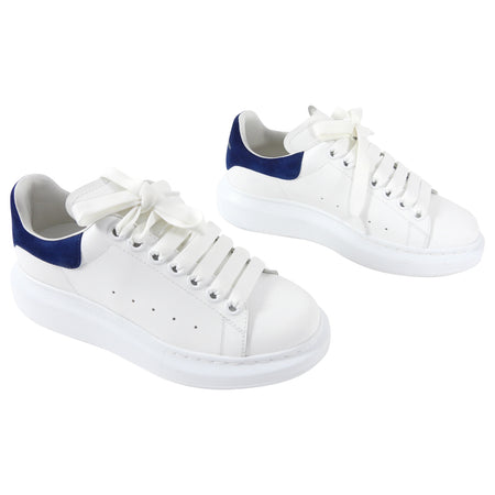 Alexander McQueen Oversize Low Sneaker in White and Navy - 36.5