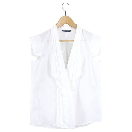 Alexander McQueen White Cotton Cap Sleeve Button Down